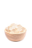 A wooden bowl full of freshly picked Aloe vera plant, peeled and Royalty Free Stock Photography