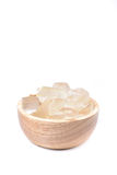 A wooden bowl full of freshly picked Aloe vera plant, peeled and Stock Images