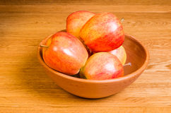 Wooden bowl of Gala apples Royalty Free Stock Photos
