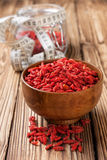 Wooden bowl with  goji berries Royalty Free Stock Photo