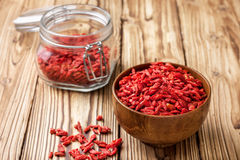 Wooden bowl with  goji berries Royalty Free Stock Photography
