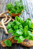 Wooden bowl with green basil leaves. Stock Photography