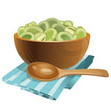 Wooden bowl with green beans in it Royalty Free Stock Photography