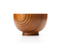 Wooden bowl isolated on white stock photos