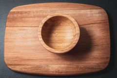 Wooden bowl for kitchen stock photo