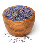 Wooden bowl with lavender petals Stock Images