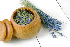Wooden bowl with lavender Royalty Free Stock Images