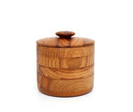Wooden bowl with lid Stock Images