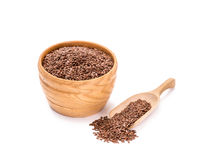 Wooden bowl with linseeds Stock Photos