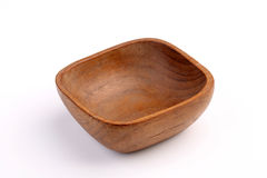 Wooden bowl made by Teak isolated on white background Stock Photos