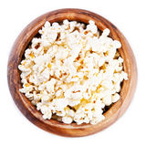 Wooden bowl with popcorn Stock Photography