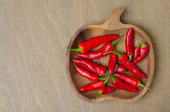 Wooden bowl with red chili peppers (and space for text). Top view Royalty Free Stock Photos