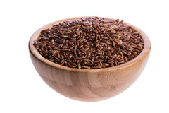 Wooden bowl with rice Royalty Free Stock Photos