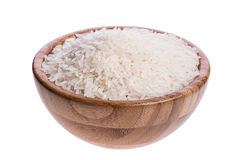 Wooden bowl with rice Stock Photo