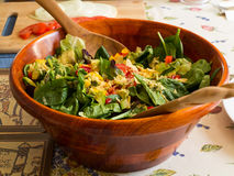 A wooden bowl of salad Stock Image