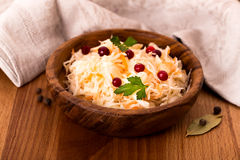 Wooden bowl of sauerkraut Royalty Free Stock Images