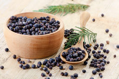 Wooden bowl with seeds of juniper Royalty Free Stock Photos
