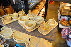 Wooden bowl. On the shelf in the market Royalty Free Stock Photography