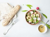 A wooden bowl of spring vegetable salad with mustard dressing on Royalty Free Stock Images