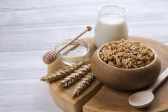 Light carbohydrate and protein rich granola yougurt all-day energy breakfast. A wooden bowl of trail mix with almonds, raisins, seeds, cashew, hazelnut nuts Stock Image