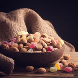 Wooden bowl with typical dutch sweets for Sinterklaas Stock Photos