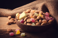 Wooden bowl with typical dutch sweets for Sinterklaas Royalty Free Stock Photo