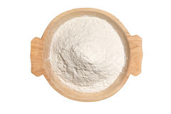 Wooden Bowl With Wheat Flour Powder Stock Photo