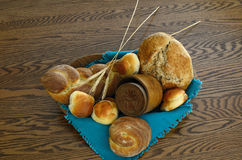 Wooden Bowl with Whole Wheat Breads Royalty Free Stock Photography
