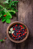 Wooden bowl with wild berries on dark wooden table. Stock Images