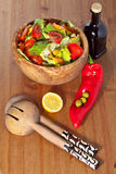 Wooden Bowl With Salad Stock Image
