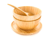 Wooden bowl and wooden spoon on white background Royalty Free Stock Image