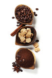 Wooden Bowls with coffee Stock Images