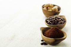 Wooden Bowls with coffee Royalty Free Stock Photography