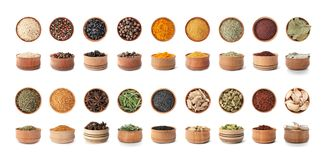 Wooden bowls with different spices and herbs on white background. Large collection royalty free stock photography