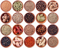 Wooden bowls full of different spices Stock Photography