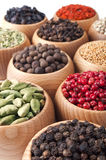 Wooden bowls full of different spices Royalty Free Stock Photo
