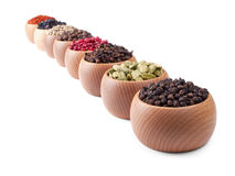Wooden bowls full of different spices Stock Image