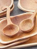 Wooden Bowls and ladles Royalty Free Stock Image