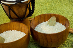 Wooden bowls with rice and tamtam on green Royalty Free Stock Images