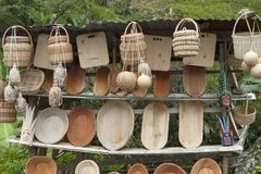 Wooden Bowls. Roadside stand in Costa Rica selling hand-hewn wooden bowls, baskets and artifacts Royalty Free Stock Images