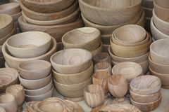 Wooden bowls for sale at the local flea market Stock Photos