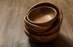 Wooden bowls on table Stock Photography