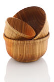 Wooden bowls on white background Stock Images