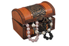 Wooden box. Wooden retro box for storage of jewels stock image