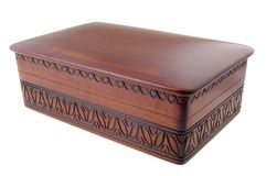 Wooden box. Carved elegant wooden box for keeping small things Royalty Free Stock Image