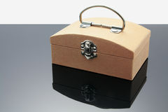 Wooden Box. With Reflection on Grey Background Stock Image