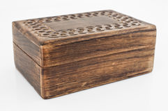 Wooden box. Perspective of a wooden box  on white Royalty Free Stock Photos