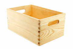 Wooden box. Wooden container isolated on white Royalty Free Stock Photo