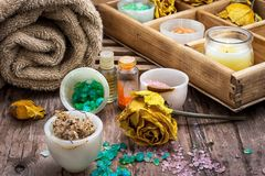 Wooden box with accessories for Spa treatments Stock Photography