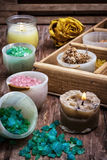 Wooden box with accessories for Spa treatments Royalty Free Stock Image